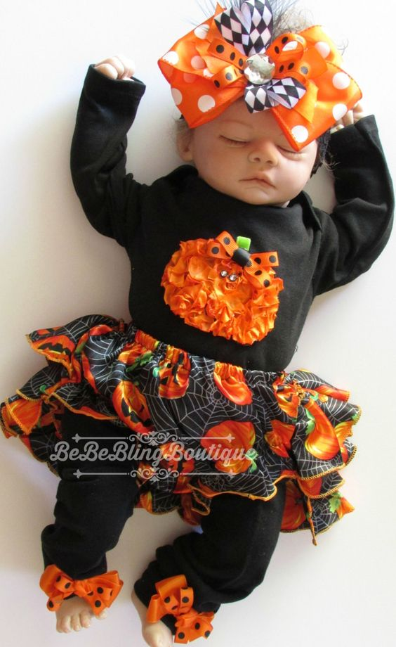 Baby Girl Halloween Costume Outfit Bloomer set Newborn Girl Pumpkin Costume Complete Set by BeBeBlingBoutique on Etsy