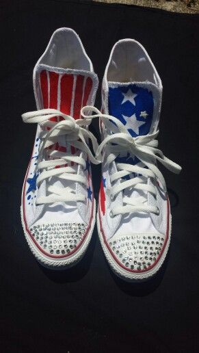 Independence's Day Converse Chuck Taylor All-Star Hand Crafted By Weird Art Society #4thofJuly #summer #AmericanFlag #USA #RedWhiteAndBlue