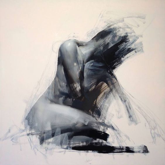 Hybrid Expressive figure painting in oil by Zin Lim.