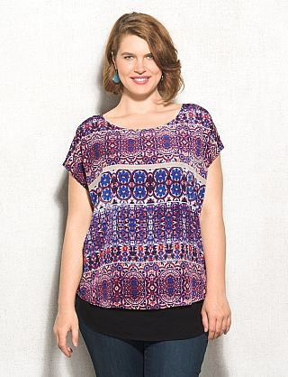 Plus Size Mixed Print Statement Tee