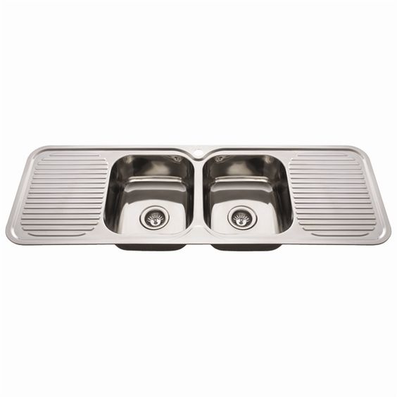 nugleam 1380 double bowl kitchen sink with double drainer i n 5110328