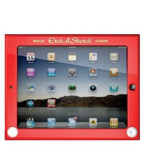 Headcase Etch A Sketch Hard Case for iPad 2, $39.37 on Amazon!    Etch A Sketch iPad 2 case-more than just cool! Specially designed to protect and enhance your iPad 2 with impact resistant plastic. Rubber feet and a felt backing inside the case gently cradle your iPad 2. Strategically placed windows throughout allow for easy use of all your iPad switches, ports, buttons. And retractable kick stands allow you to either lay your iPad 2 flat, or angle it for easy use of the iPad 2 keyboard.
