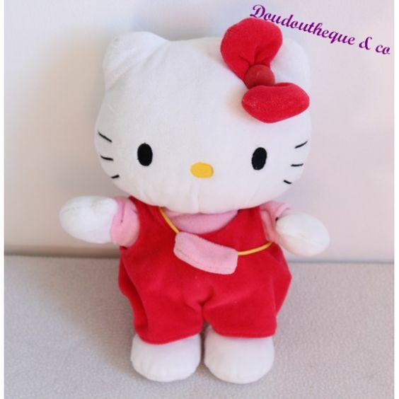 Peluche Hello Kitty SANRIO salopette rouge sac rose noeud 25 cm