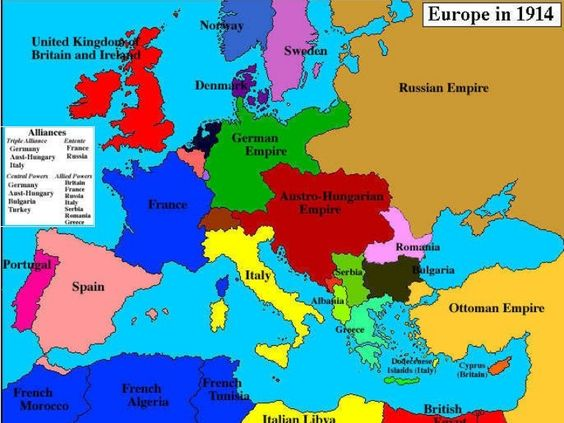 Map of Europe in 1914 before the Great War.: