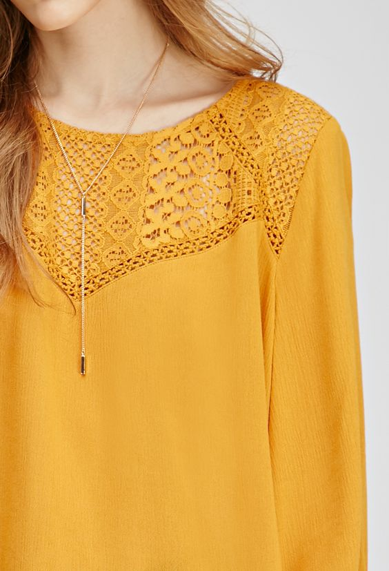 Textured Crochet-Paneled Top | FOREVER21 - 2000136372