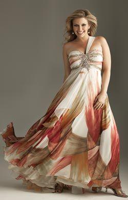 Vestidos de noche para gordita Vestido color beige con estampado de colores, escote corazón con