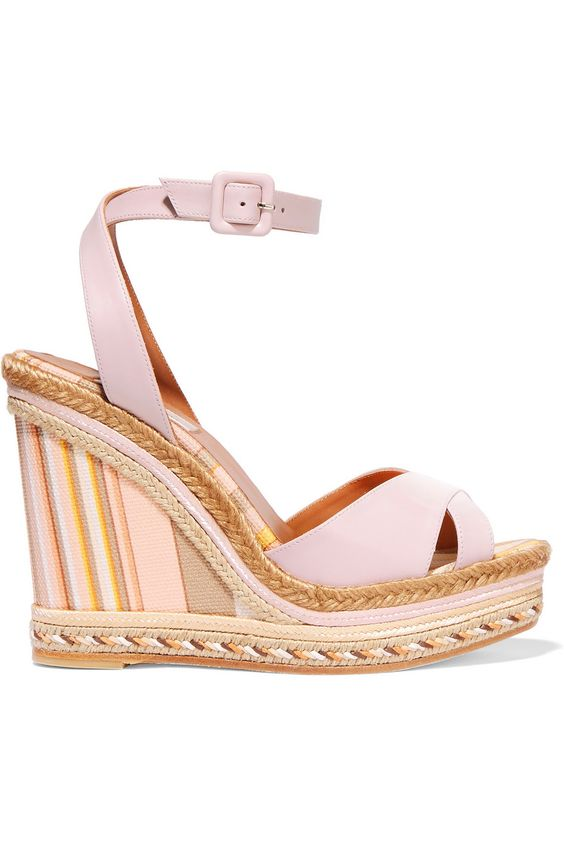 Leather and striped canvas espadrille wedge sandals