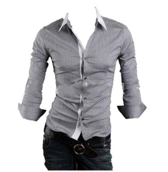 QualityUC Mens American Clothes Fashion No Pattern Shirt