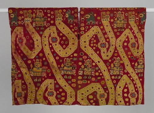 Tunic with Serpents, ca. 800–950 Peru, south highlands, Wari-related style Camelid hair, cotton; tapestry weave; 29 3/8 x 40 in. (74.6 x 101.6 cm) Private Collection