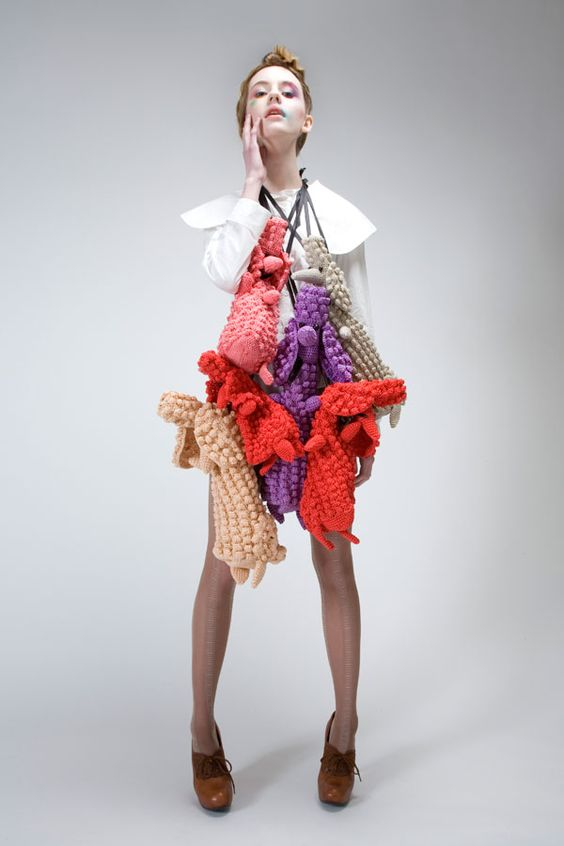 Straight from the runways of Fashion Festival Reykjavik extravagant accessories to crochet all signed by the artist and designer Icelandic Hildur Yeoman !