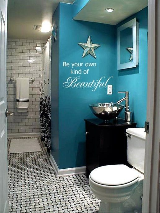 Great quote and cute bathroom...Love the color