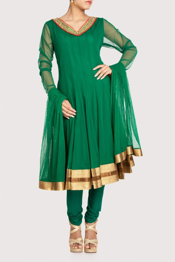Net multi-paneled anarkali subtly enriched with gota border. Shop Now: www.karmik.in/shopping/index.php