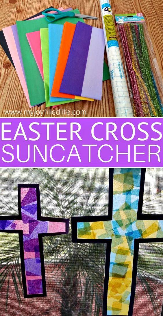 Easter Cross Sun Catcher Craft #easter #eastercraft