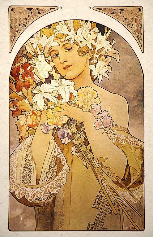 Art Nouveau Print Alphonse Mucha Flowers Ebay Art Nouveau Poster Mucha Art Art Nouveau Illustration