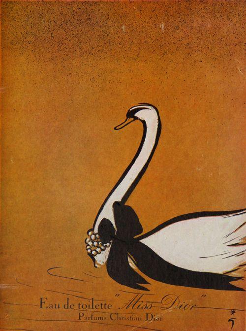 affiche miss dior eau de toilette parfum france illustration de gruau ren 1950 pub. Black Bedroom Furniture Sets. Home Design Ideas