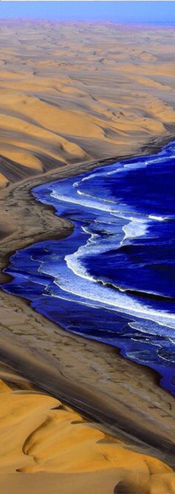 Sea and desert. Namib desert in Namibia Africa