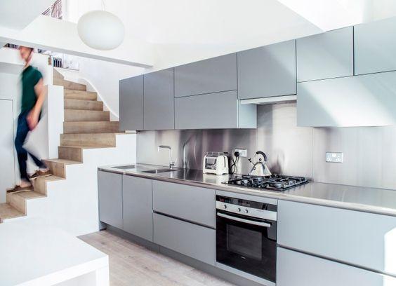 Moderne keuken, combinatie van rvs met zacht grijs/blauw - www ...