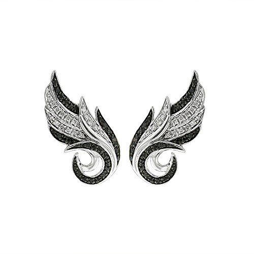925 Sterling Silver Angel Feather With Black and White Diamond Earring (0.21 Carat)by Diamond Delight