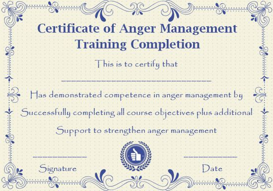 Anger Management Certificate 15 Templates With Editable Samples Template Sumo Anger Management Anger Anger Management Classes