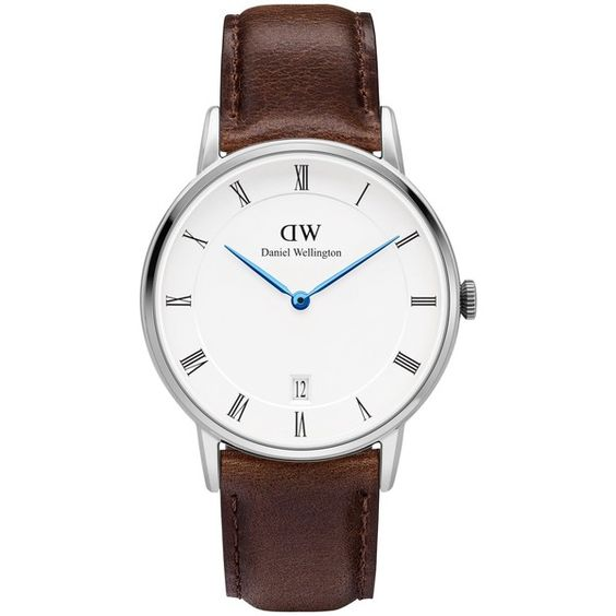 Daniel Wellington DW00100098 Women's Dapper Bristol Date Leather Strap... (£149) ❤ liked on Polyvore featuring jewelry, watches, polish jewelry, water resistant watches, white strap watches, roman numeral watches and white jewelry