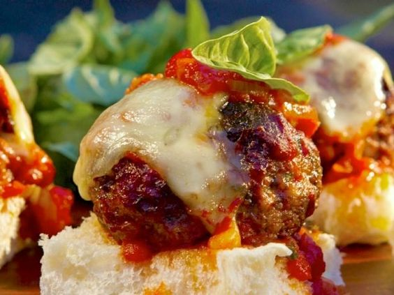 As seen on Guy's Big Bite: Italian Meatball Slyders with Red Sauce #GuyFieri #Meatball