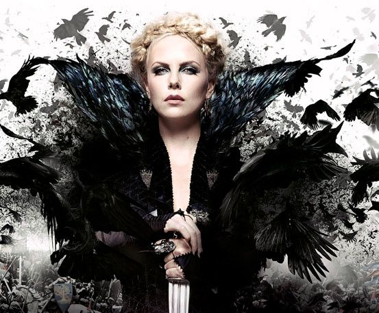 Evil queen Ravenna surrounded by ravens in a promotional ...