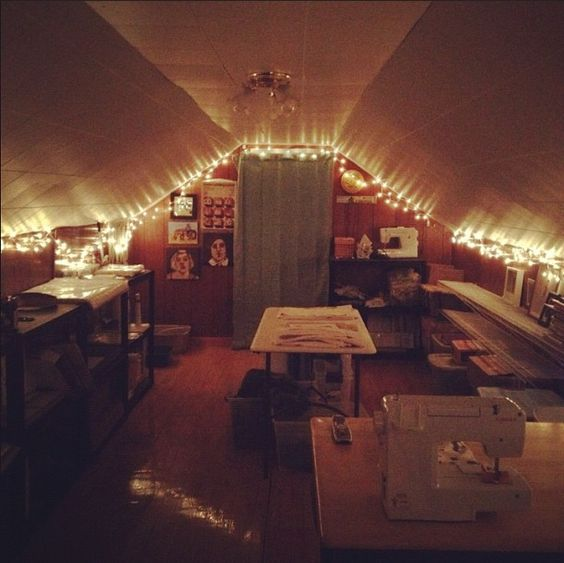 String Lights In Office: Attic Office, Lights And String Lights On Pinterest