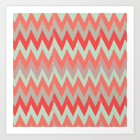 Grunge Chevron Art Print by Eine Kleine Design Studio | Society6