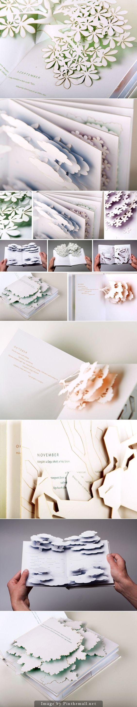 Paper + Book + Art | 紙 + 著作 + アート | книга + бумага + статья | Papier + Livre + Créations Artistiques | Carta + Libro + Arte | Calendar – Pop-up Poem Book by Éva Somogyi...