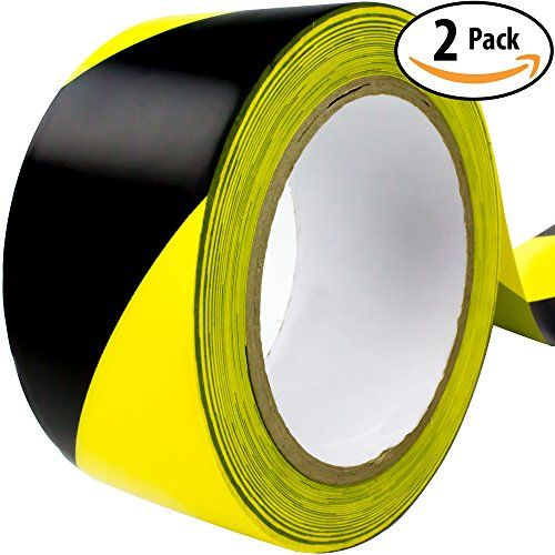 Double Roll Of Ultra Adhesive Black Yellow Hazard Tape For Floor Marking 2 Pack Mark Floors Watch Your Step Areas For Safety W Hazard Tape Vinyl