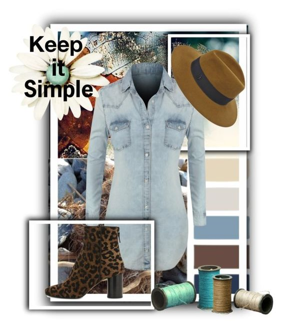 """Keep it simple"" by kikolina1 ❤ liked on Polyvore featuring LE3NO, Maison Michel and Sandro"