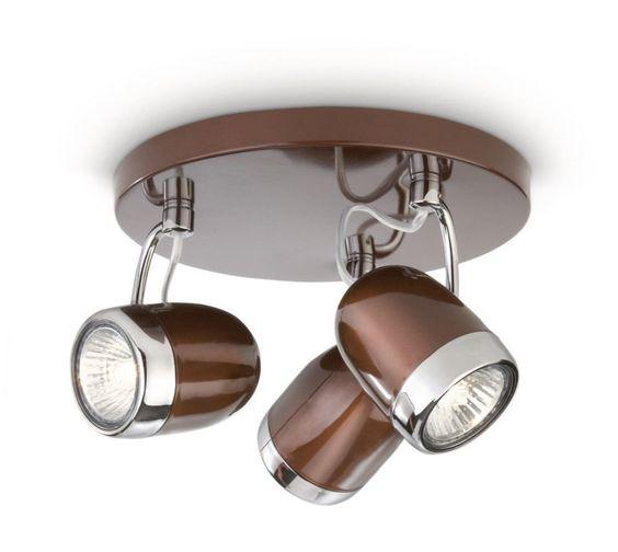 Philips balsa lampada da 3 faretti, metallo, marrone e dettaglio ...