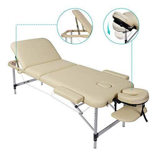 Lettino Da Massaggio Portatile In Alluminio.Naipo Lettino Da Massaggio Pieghevole In 3 Sezioni Regolabile In