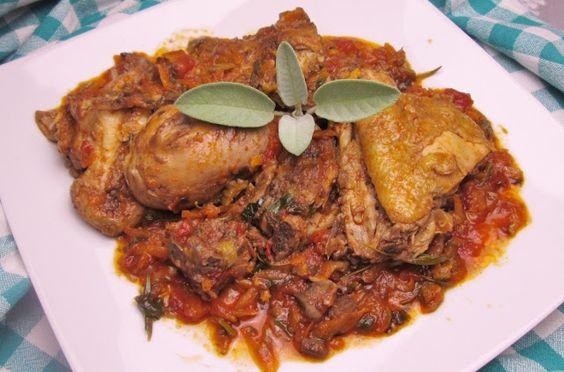 Culinaria  direto da Italia: Frango cozido a caçadora