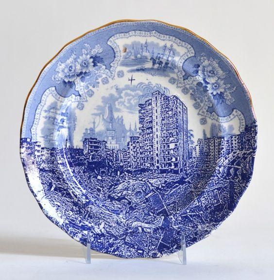 """Paul Scott, """"Scott's Cumbrian Blue(s), Palestine, Gaza,"""" 2015, glaze, decal, gold, c. 1840 Adams plate, 9.25 x 1"""".:"""