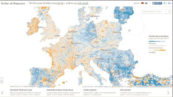 Interaktive Karte: Wo Europas Bevölkerung wächst und schrumpft - Die bisher detaillierteste interaktive Karte über Europas Einwohner zeigt die Bevölkerungsentwicklung in 119.406 Gemeinden aus 43 Ländern. #infographic