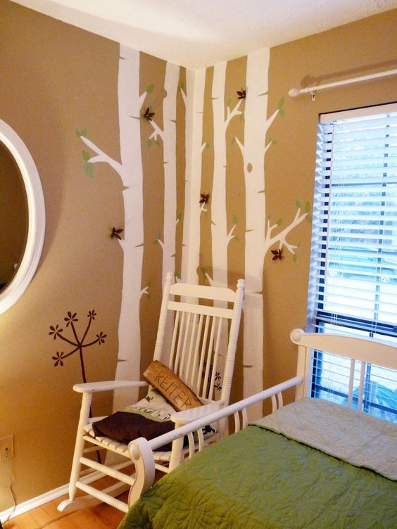 Church nursery ideas decor and i got to do a birch for Church nursery mural
