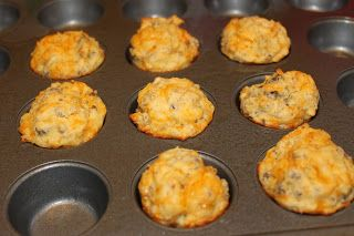 Sausage Muffins! 1 cup of Bisquick, 1 lb cooked sausage, 4 eggs beaten, & 1 cup of shredded Cheddar cheese. 350 degrees 20 minutes.