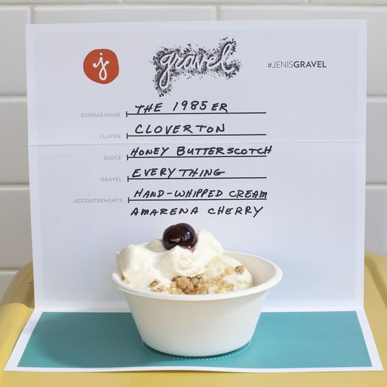 The '85er Cloverton ice cream, Honey Butterscotch sauce, Everything Bagel gravel, whipped cream, and a cherry.