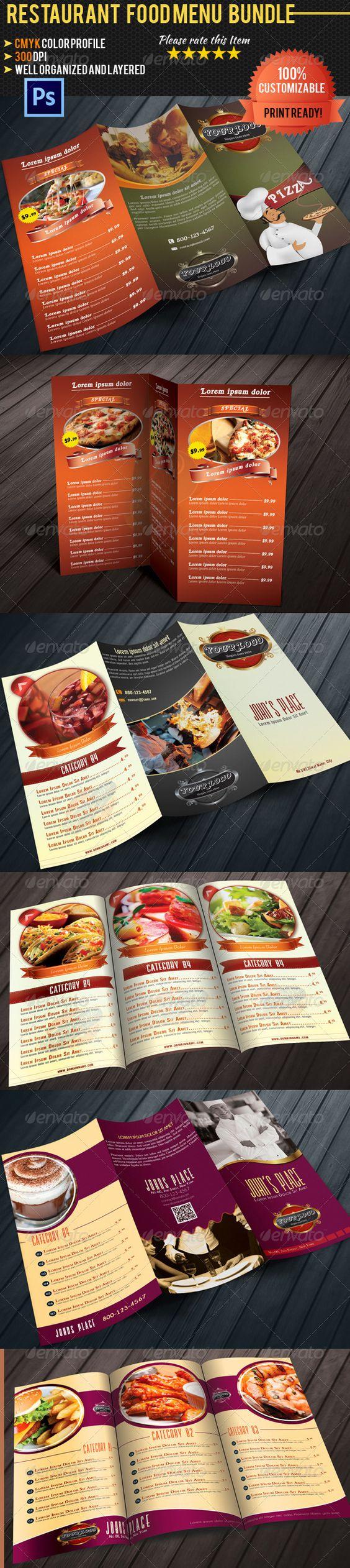 Trifold Restaurant Food Menu Template Bundle – A La Carte Menu Template