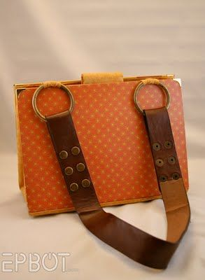 Book purse with leather belt strap