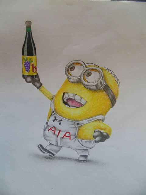 minion dave with buckfast tottenham hotspur tattoo design art by megan brotherston pinterest. Black Bedroom Furniture Sets. Home Design Ideas