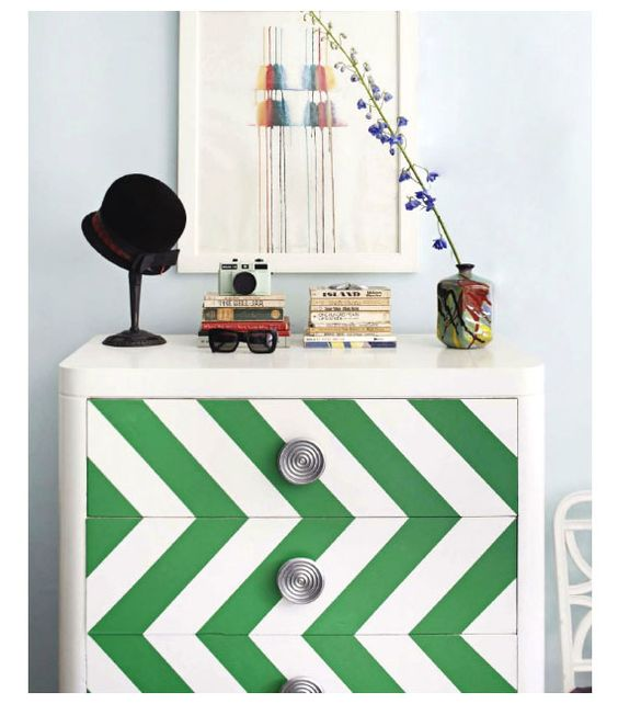 Cool way to jazz up an old dresser...the look of chevron but WAY easier to tape-off and paint!