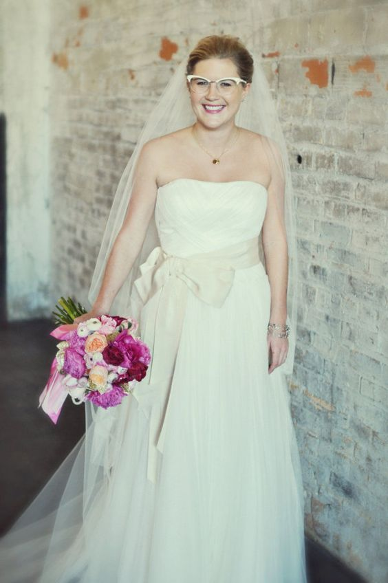 who can resist a Bride in glasses?  Photography by thephotographyshoppe.com