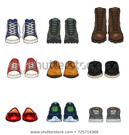 Vector Set Of Cartoon Color Shoes Items Front View Collection Shoe Design Sketches Shoes Drawing Cartoon Shoes