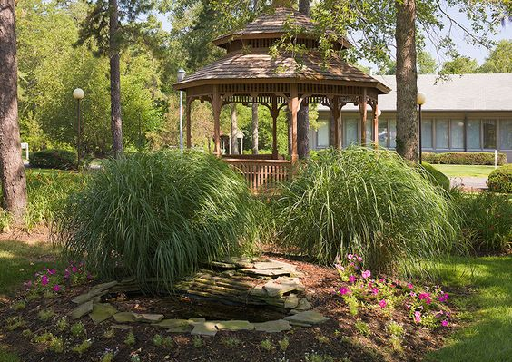 The bucolic grounds at Silverwoods, part of Hovnanian Senior Housing, offer quiet garden areas for all to enjoy.
