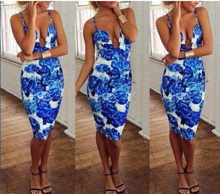 Blue Royals Floral Midi Bodycon Dress $59