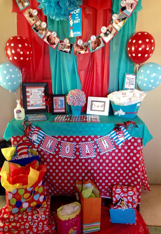 Dr. Seuss Birthday Party Favor Table  Dr. Seuss Birthday Card: Credit to Bella Card Creations https://www.etsy.com/shop/BellaCardCreations?ref=s2-header-shopname  Watch Me Grow Banner (tags only Newborn-12mths), Noah Die cut banner, 1 fish 2 fish favor bags: Credit to Prissy Party Printables https://www.etsy.com/shop/PrissyParty?ref=s2-header-shopname