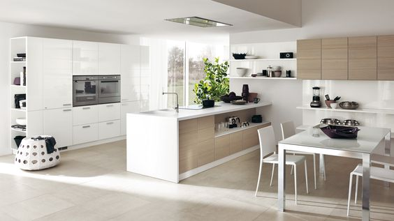 White Gloss Contemporary Open Kitchen Feats Wall Cupboards With Tall And Larder Units Also Glossy Island Selves P? Pinteres?