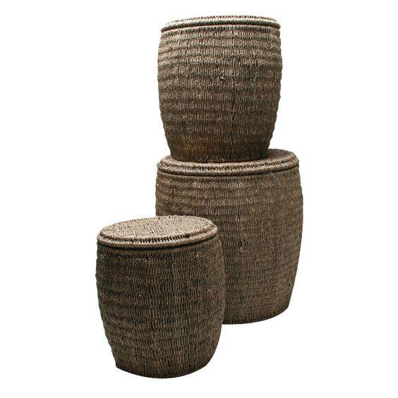 3 Piece Seagrass Storage Ottoman